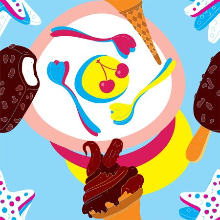 Ice Cream Seamless Pattern With Biscuits and Spoons  Vector