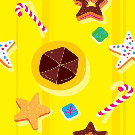 Biscuits Bright Seamless Pattern  Vector
