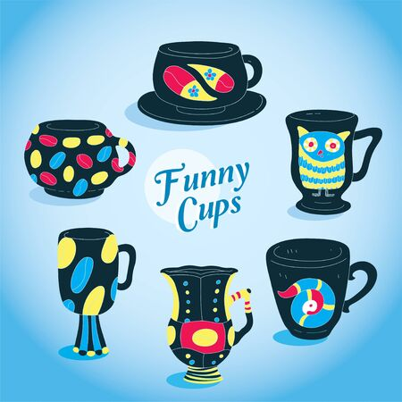 Vector Cute Funny Cups Collection  Vector