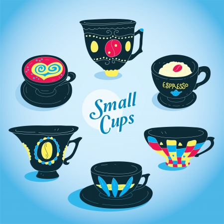 Elegant Small Cups Collection  Vector