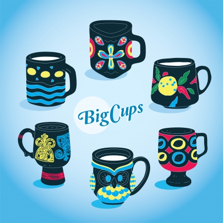 Vector Beautiful Big Cups Collection  Stock Vector - 15303965