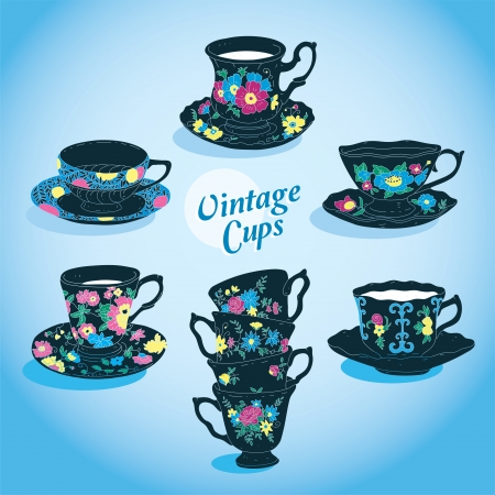 Elegant Vintage Cups Collection  Stock Vector - 15304012