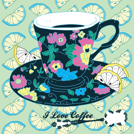 green coffee beans: Elegant Cup of Coffee Card Illustration With Spoon and Lemons  Illustration