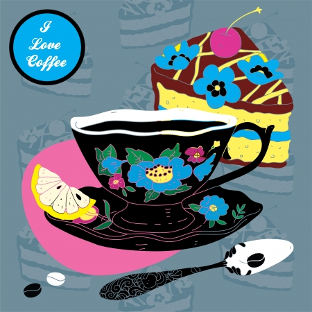 comfort food:  Elegant Cup of Coffee Card Illustration With Spoon Lemon and Cake