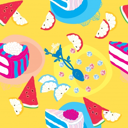 Cakes Seamless Pattern With Spoon Lemons and Watermelon  Vector