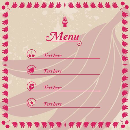 Fresh Vintage Ice Cream Juice Cake Pie Menu With Fruits  Vector