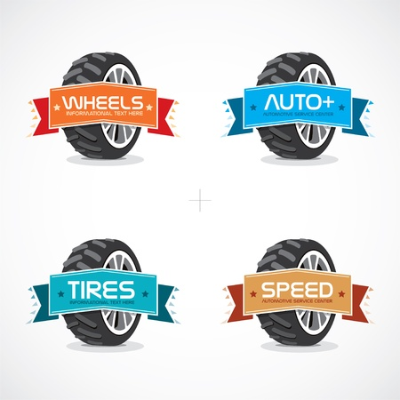 Set of Colorful Frames, Stickers, Labels With Wheel Illustration Stock Vector - 15521527