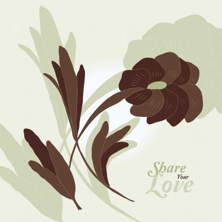 Love Flowers Elegant Card in Japanese Style Vector
