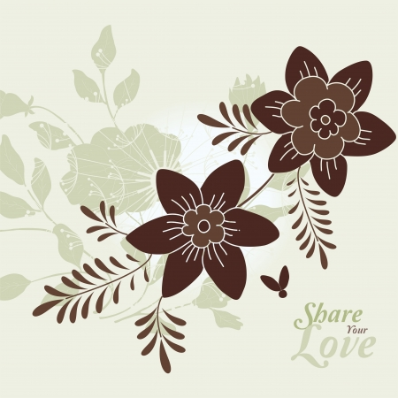 japanese style: Love Flowers Elegant Card in Japanese Style