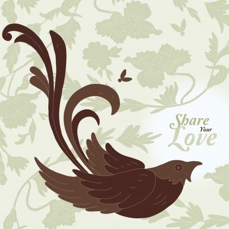 beige backgrounds: Love Flowers Elegant Card in Japanese Style Illustration