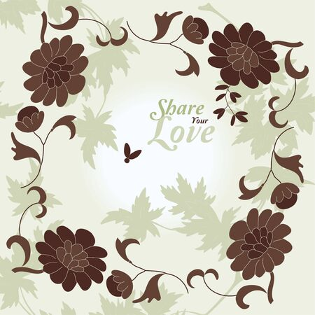Love Flowers Elegant Card in Japanese Style, SPA, Tattoo Vector