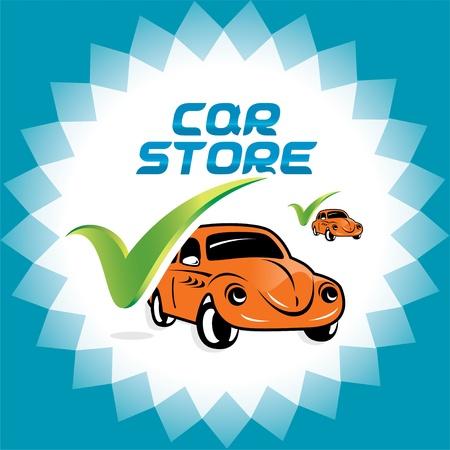 accepter: Retro Car Accepter Illustration Logo ic�nes, pour le Web et Print Design