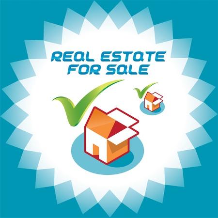 accepter: Immobilier Accepter Ic�nes, Illustration Logo avec la bo�te et de la Chambre pour le Web et Print Design