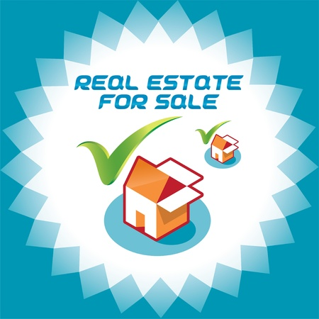 sell house: Real Estate Accept Icons, Logo Illustration With Box and House for Web and Print Design Illustration