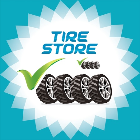 tire shop: Four Wheels Accept Icons, Logo Illustration for Web and Print Design Illustration