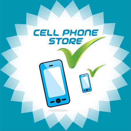 Glossy Mobile Phone Store Accept Icons, Button, Logo Stock Vector - 15743137