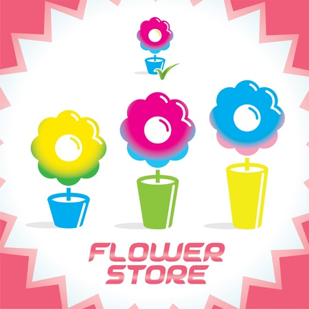 Colorful Gradient Glossy Flower Shop Icons, Sign, Button for Family, Children, Women, Present, Holiday, Date Stock Vector - 15881721
