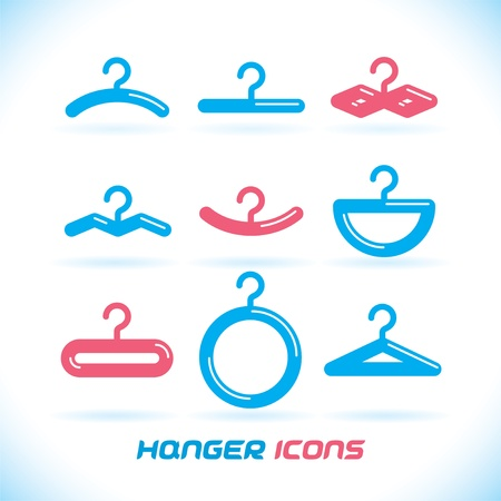 Glossy Hanger Icons, Button for Baby, Child, Children, Teenager, Family, Home, Bathroom, Wardrobe Vector