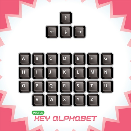 put the key: Glossy, 3d Keyboard Keys, Button for Baby, Child, Children, Teenager, Adult, Family Illustration