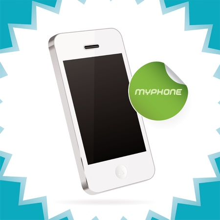 phone icon:  Mobile Phone Illustration, Icons, Sign, Badge With Sticker