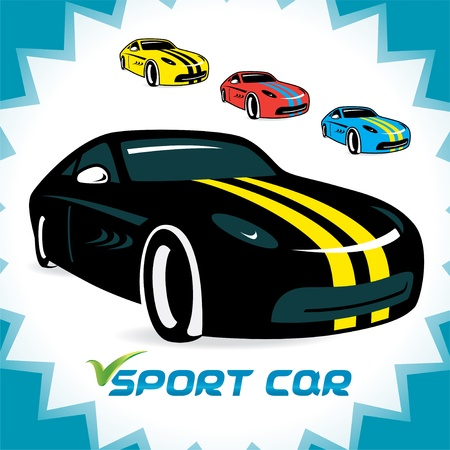 book shop: Sport Cars Icons, Illustration for Web and Print Design
