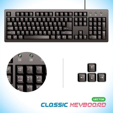 toetsenbord: Glanzend, 3D Classic Keyboard Illustratie, Knop voor Baby, Kind, Kinderen, Tiener, Volwassene, Familie, Programmeur, Ontwerper, Thuis, Werk Stock Illustratie