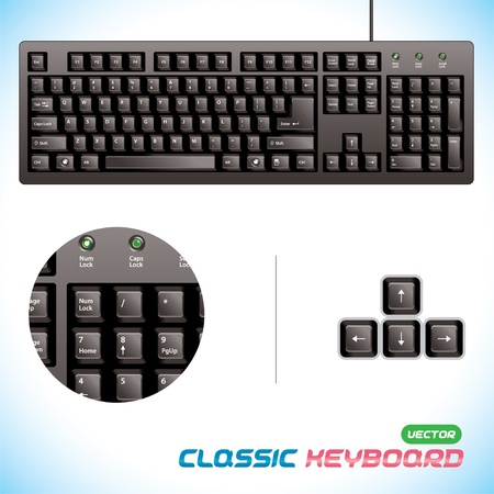 computer keyboard keys: Glossy, 3d Classic Keyboard Illustration, Button for Baby, Child, Children, Teenager, Adult, Family, Programmer, Designer, Home, Work Illustration