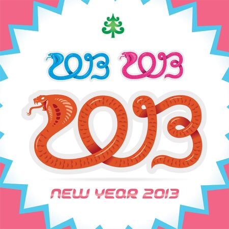 Merry Christmas, New year 2013 Zodiac Sign, Snake, Badge, Icon, Symbol Vector
