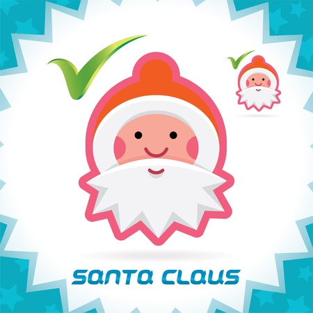 Glossy Santa Claus Merry Christmas, New Year Accept Icons, Button, Sign, Symbol for Family, Festival Celebration, Baby, Children, Teenager, People Stock Vector - 16209877