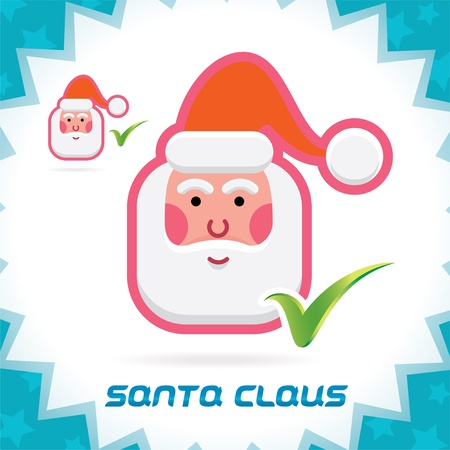 Glossy Santa Claus Merry Christmas, New Year Accept Icons, Button, Sign, Symbol for Family, Festival Celebration, Baby, Children, Teenager, People Stock Vector - 16209874