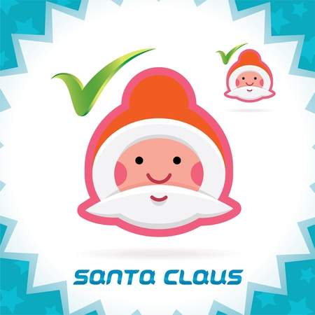 Glossy Santa Claus Merry Christmas, New Year Accept Icons, Button, Sign, Symbol for Family, Festival Celebration, Baby, Children, Teenager, People Stock Vector - 16209879