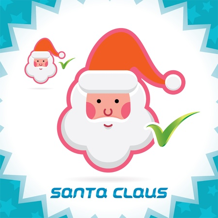 Glossy Santa Claus Merry Christmas, New Year Accept Icons, Button, Sign, Symbol for Family, Festival Celebration, Baby, Children, Teenager, People Stock Vector - 16209870