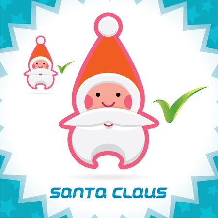 Glossy Santa Claus Merry Christmas, New Year Accept Icons, Button, Sign, Symbol for Family, Festival Celebration, Baby, Children, Teenager, People Stock Vector - 16209875
