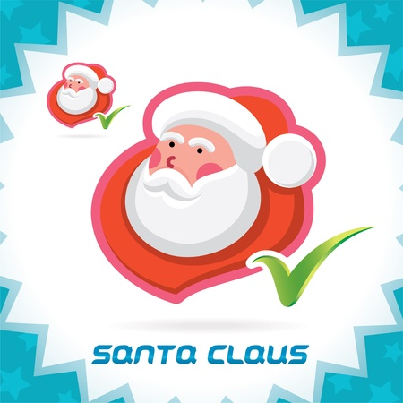 Glossy Santa Claus Merry Christmas, New Year Accept Icons, Button, Sign, Symbol for Family, Festival Celebration, Baby, Children, Teenager, People Stock Vector - 16209928