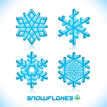 Glossy Modern Blue Snowflakes Illustration, Icon, Abzeichen, Label, Sign, Emblem