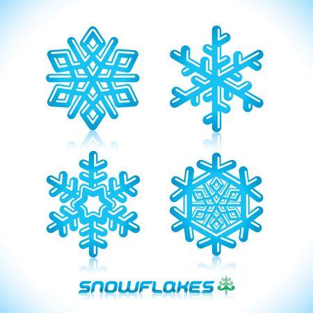 Brillant Moderne Illustration bleu flocons de neige, icône, insigne, étiquette, signe, emblème