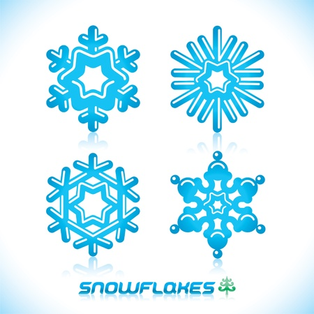 Glossy Modern Blue Snowflakes Illustration, Icon, Badge, Label, Sign, Emblem Stock Vector - 16298512