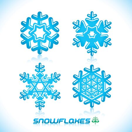 Glossy Modern Blue Snowflakes Illustration, Icon, Badge, Label, Sign, Emblem Vector