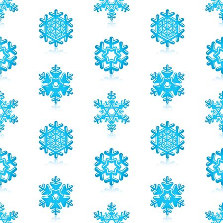 snow crystals: Glossy 3d Modern Blue Snowflakes Pattern Illustration
