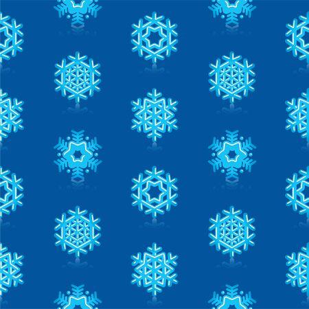 Glossy 3d Modern Deep Blue Snowflakes Pattern Vector