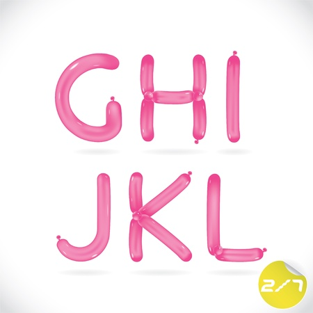 globos de cumpleaños: Alfabeto único globo brillante, Letras, Ilustración, señal, icono, símbolo para el bebé, Familia, Educación Vectores