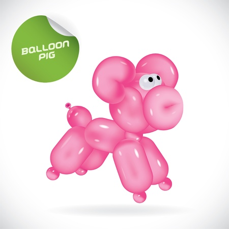 Glossy Balloon Pig Illustration, Icons, Button, Sign, Symbol, Festival Celebration, Baby, Children, Teenager, People  Illustration