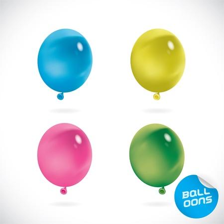 Glossy Happy Bitrhday Balloon Illustration, Icon, Button, Badge, Label, Emblem with Sticker  Illustration