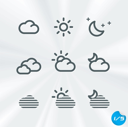 Weather Icons Collection, Button, Sign, Symbol, Emblem, Sticker, Badge, Logo for Web Design, User Interface, Baby, Children, People  Vector