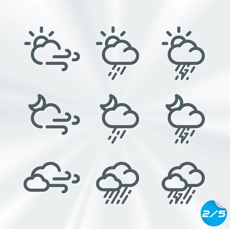 Weather Icons Collection, Button, Sign, Symbol, Emblem, Sticker, Badge, User Interface, Baby, Children, People  Illustration