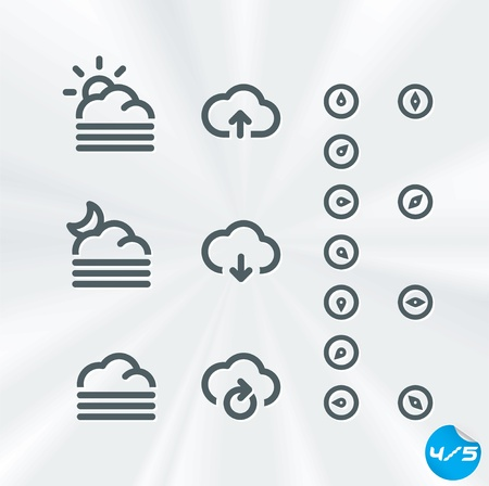 cloud icon: Weather Icons Collection, Button, Sign, Symbol, Emblem, Sticker, Badge, User Interface, Baby, Children, People  Illustration
