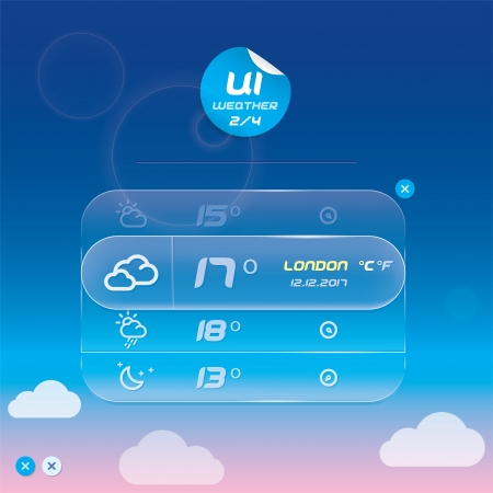 Vector Weather Widget, Button, Sign, Symbol, Emblem, Sticker, Badge, Logo for Web Design, User Interface, Mobile Phone, Baby, Children, People  Vector