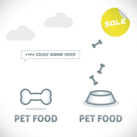 Glossy Pet Shop, Food Sign, Symbol, Button, Badge, Icon, Logo, Illustration for Family, Baby, Children, Teenager, People  Vector