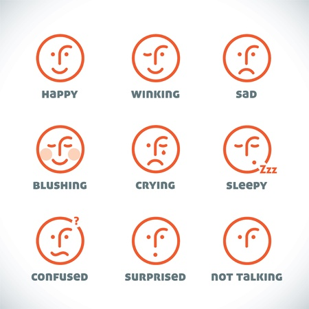 Glossy Smiles Icons Illustrations, Sign, Symbol, Button, Badge, Icon, Logo for Family, Baby, Children, Teenager, People