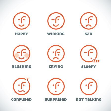 clin d oeil: Icons Smiles Illustrations, signe, Symbole, bouton, insigne, ic�ne, logo de la famille, b�b�, d'enfants, d'adolescent, les gens